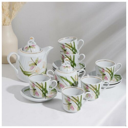 Сервиз чайный Стрекоза, 14 предметов: чайник 1 л, сахарница 400 мл, 6 чашек 220 мл, 6 блюдец 14 см сервиз чайный фарфоровый на 6 персон 220 мл royal classics 14 предметов