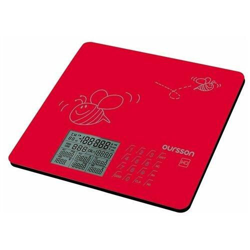 Фото - Кухонные весы, Oursson, Красный, KS0502GD/RD весы кухонные oursson ks0504pd dc