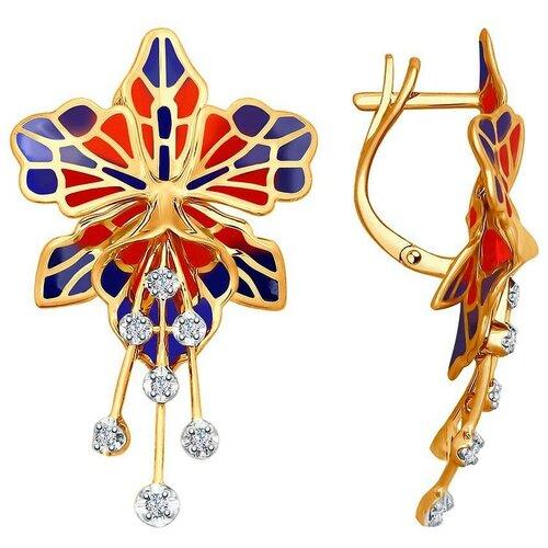 SOKOLOV Серьги Цветы с эмалью и бриллиантами из красного золота 6029007