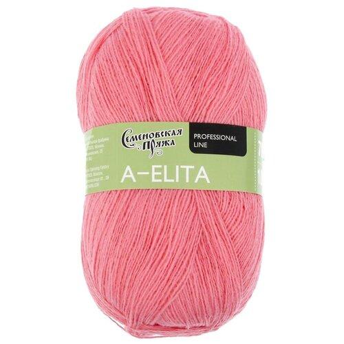 Пряжа Семеновская пряжа A-elita, 50 % шерсть, 50 % акрил, 100 г, 781 м, розовый (020)
