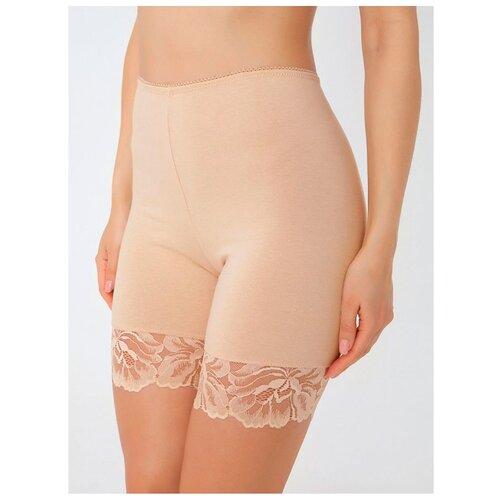 Alla Buone Трусы панталоны высокой посадки с кружевом, размер XL(50), nudo