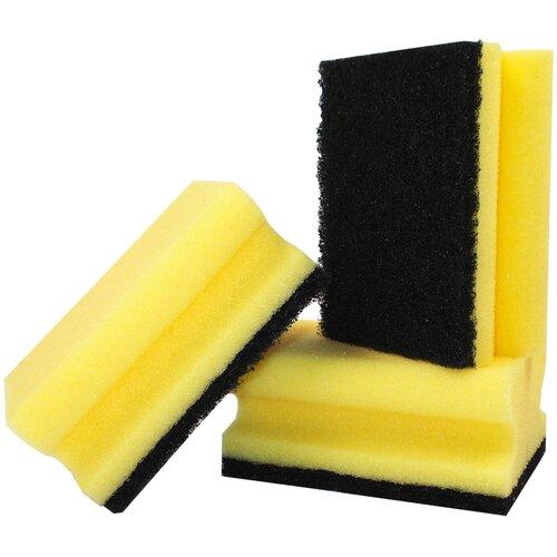 губка aqualine для мытья автомобиля Губка для мытья и чистки кастрюль aQualine 3 шт., желтый/ черный