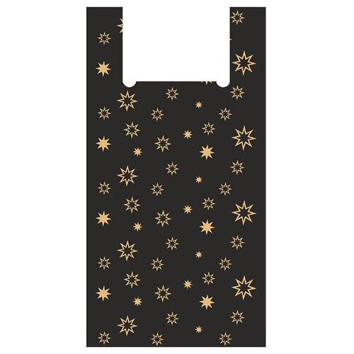 Пакет-майка OfficeClean Звезды, 30+16х60 см, 15 мкм черный 100 шт. пакет майка officeclean звёзды пнд 30х60 см 15 мкм белый 100 шт
