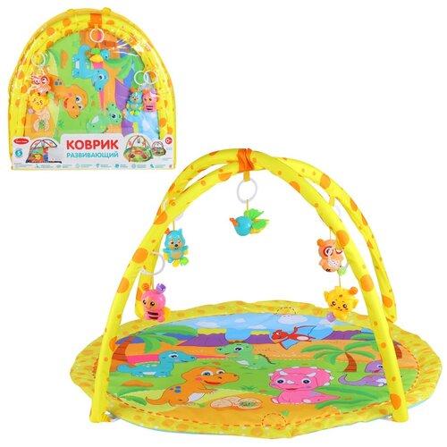 Детский коврик развивающий для малышей Smart Baby с подвесками-погремушками, коврик для ползания детский, коврик для детей, игровой коврик детский, коврик для малышей, коврик для ребенка, коврик для детей игровой, мягкий, размер 82 х 64 см, с динозаврами