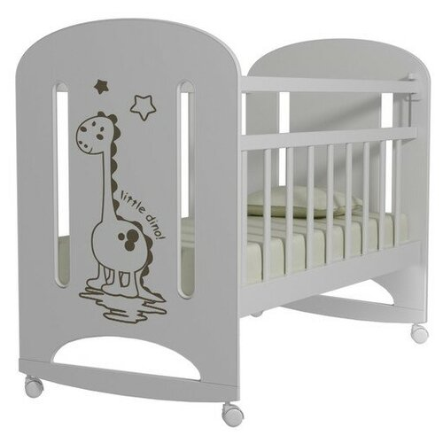 Кроватка Волжская деревообрабатывающая компания Dino (колесо) (качалка), на полозьях белый