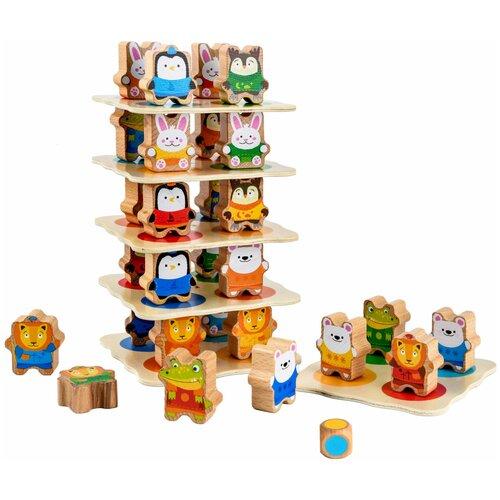 Купить Деревянная игрушка для детей Звериная башня , Lucy & Leo, Настольные игры