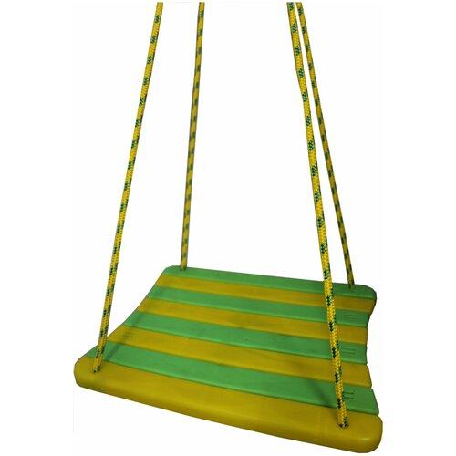 Механика Детские подвесные качели (без спинки), зеленый/желтый