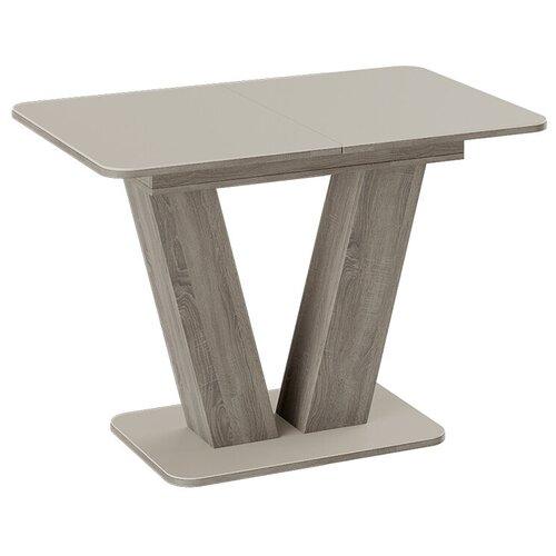 Стол кухонный ТриЯ Чинзано тип 1, раскладной, ДхШ: 110 х 70 см, длина в разложенном виде: 149.5 см, дуб сонома трюфель/стекло бежевое матовое стол обеденный трия ливерпуль тип 1 дуб сонома трюфель металлик