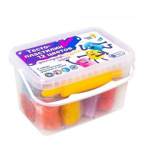 Купить Набор для детской лепки Тесто-пластилин 12 цветов, Genio Kids, Пластилин и масса для лепки