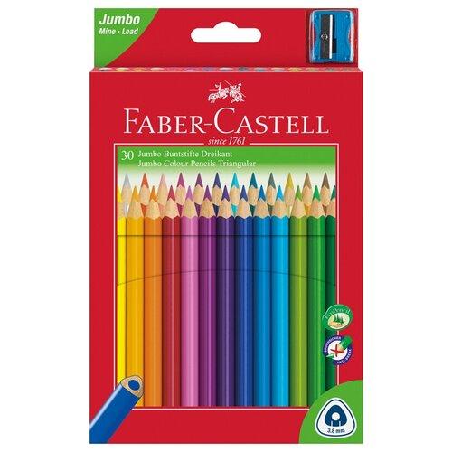 Faber-Castell Цветные карандаши Jumbo Triangular c точилкой 30 цветов (116530)