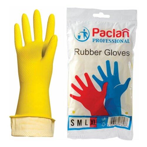 Фото - Перчатки хозяйственные латексные, х/б напыление, размер XL (очень большой), желтые, PACLAN Professional, 3 шт. перчатки хозяйственные paclan виниловые размер l 10 шт