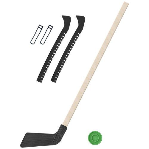 Набор зимний: Клюшка хоккейная чёрная 80 см.+шайба + Чехлы для коньков черные, Задира-плюс