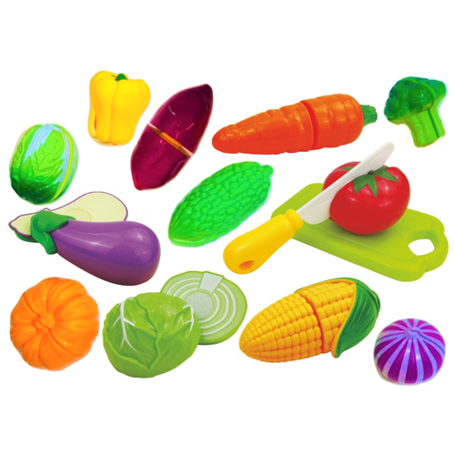 Детский игровой набор овощи на липучке, набор игрушечных продуктов для нарезки 613В, брокколи, тыква, перец, кукуруза, баклажан, морковь, чеснок, пекинская капуста,томат, картофель, капуста, доска, нож, тарелка, 29х19х6 см
