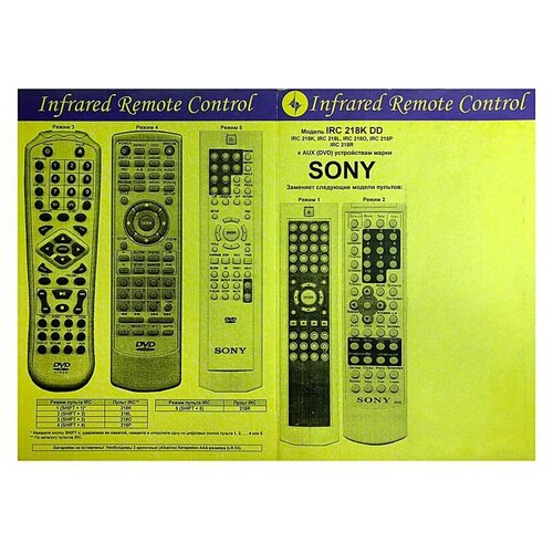 Пульт к IRC218K DD SONY AUX/DVD