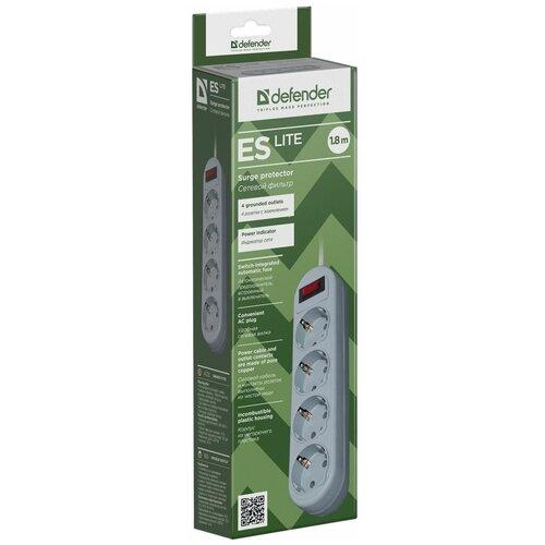 Сетевой фильтр Defender ES Lite 1.8 м, белый