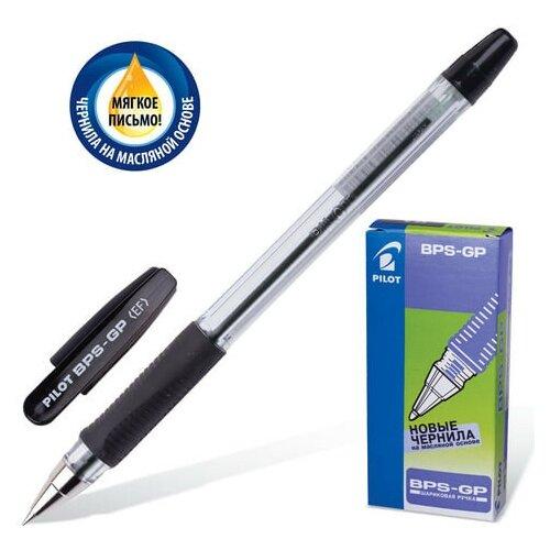 Фото - Ручка шариковая масляная с грипом PILOT BPS-GP, черная, корпус прозрачный, узел 0,5 мм, линия письма 0,25 мм, BPS-GP-EF, BPS-GP-ЕF 141458 ручка шариковая pilot bps gp fine синяя 0 7 мм