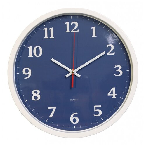 Часы настенные аналоговые Бюрократ WallC-R66P, диаметр 30 см, белый