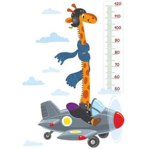 Наклейка интерьерная Woozzee Жираф на самолете (ростомер) NDS-1350-0906