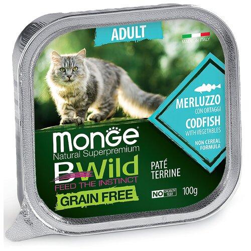 Monge Cat BWild GRAIN FREE беззерновые консервы из трески с овощами для взрослых кошек 100г