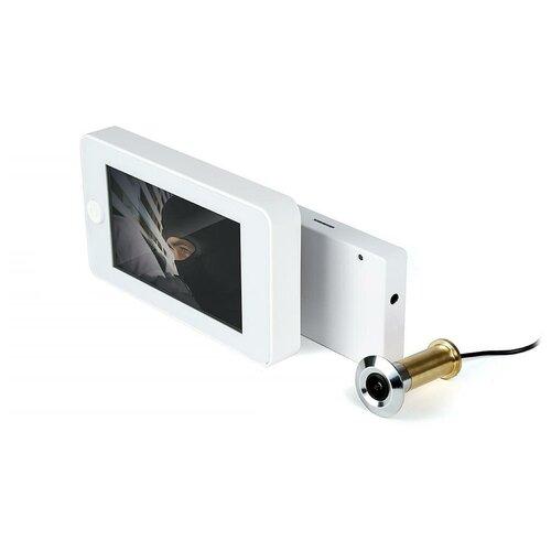 Дверной Wi-Fi видеоглазок iHome-GLAZ-М-White с монитором и удаленным доступом через интернет, запись по движению в подарочной упаковке