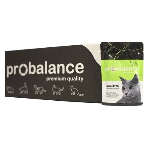 Консервированный корм для кошек Пробаланс Sensitive, чувствительное пищеварение 85 г х 25 шт.