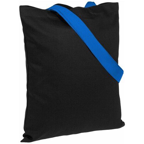 Сумка-шоппер BrighTone, черная с ярко-синими ручками