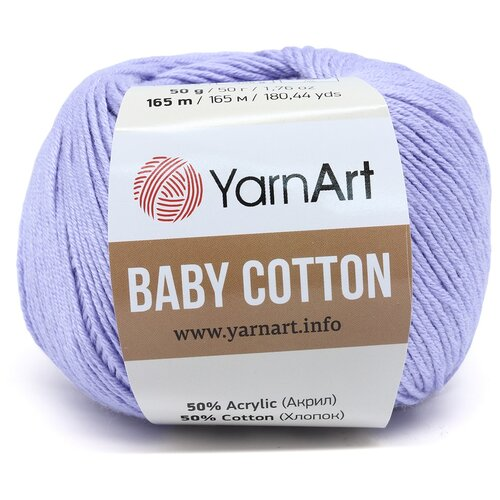 Фото - Пряжа YarnArt 'Baby Cotton' 50гр 165м (50% хлопок, 50% акрил) (417 голубой), 10 мотков пряжа yarnart baby 50гр 150м 100% акрил 1182 коричневый 5 мотков