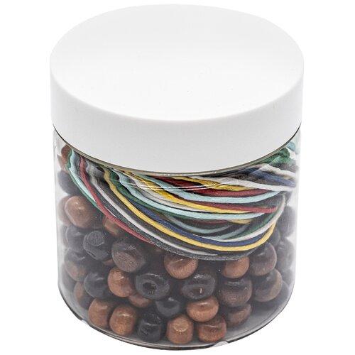 Купить Набор деревянных бусин (цвет шоколад) с вощеным шнуром 250шт/упак, Astra&Craft, Astra & Craft, Наборы для создания украшений
