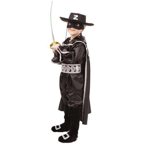 Купить Костюм пуговка Зорро (2028 к-18), черный, размер 140, Карнавальные костюмы