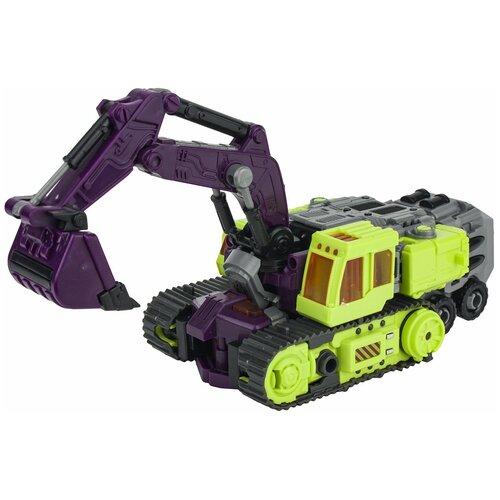 Трансформер 1 TOY Трансботы Инженерный батальон XL: Мега Эксдиггер Т16435, зеленый/фиолетовый роботы 1 toy робот трансботы инженерный батальон xl мега кранер