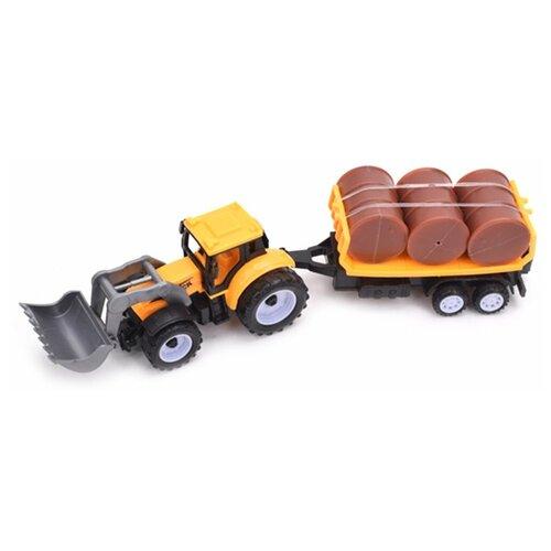 трактор с прицепом игрушка efko трактор с прицепом игрушка Трактор инерционный Наша Игрушка Фермер, с прицепом, 3 предмета, блистер (669-26)
