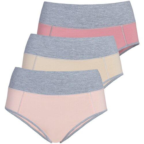 Lunarable Набор трусов брифы высокой посадки, 3 шт., размер 50-52, светло-розовый/кремовый/темно-розовый