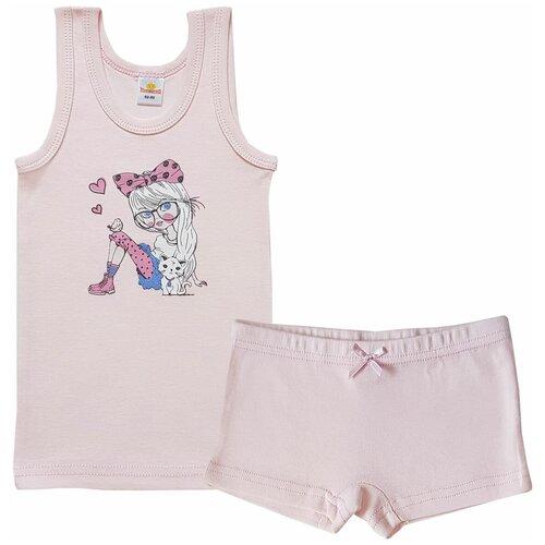 Купить Комплект нижнего белья Папитто размер 116-122, розовый, Белье и купальники