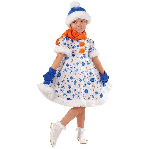 Купить Костюм пуговка Снеговик Снежана (1025 к-18), белый/синий/оранжевый, размер 116, Карнавальные костюмы