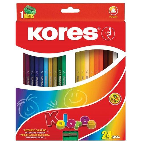 Купить Kores Карандаши цветные Kolores, 24 цвета с точилкой (93324.01), Цветные карандаши