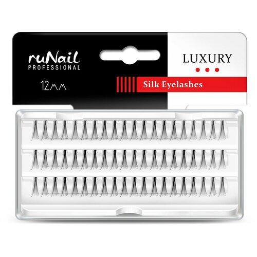 Купить RuNail, пучки для наращивания ресниц с узелками Luxury (шёлк Ø 0, 10 мм, №12), Runail Professional