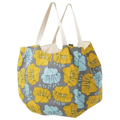 Пляжная сумка из хлопка серого цвета с принтом Цветы из коллекции Prairie