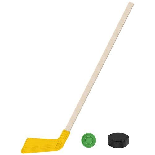 Набор зимний: Клюшка хоккейная жёлтая 80 см.+шайба + Шайба хоккейная 75 мм., Задира-плюс