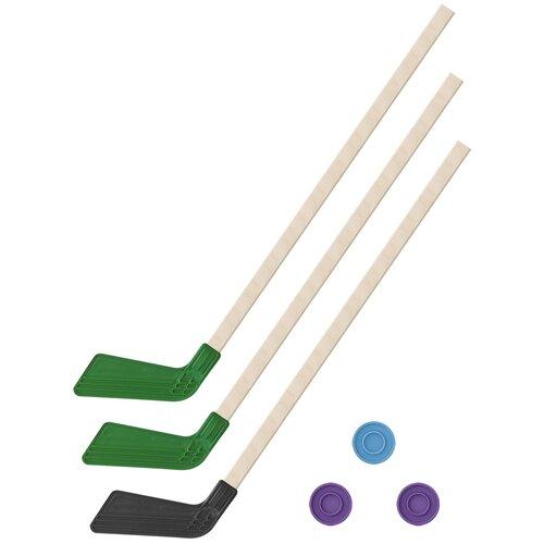 Детский хоккейный набор зима,лето 3 в 1/ Клюшки хоккейных 80 см (2 зеленых, 1 черная) + 3 шайбы, Задира-плюс