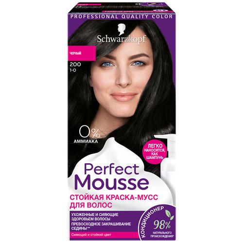 Купить Schwarzkopf Perfect Mousse Стойкая краска-мусс для волос, 200 черный