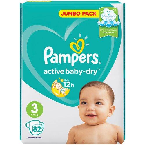 Купить Pampers подгузники Active Baby-Dry 3 (6-10 кг), 82 шт., Подгузники