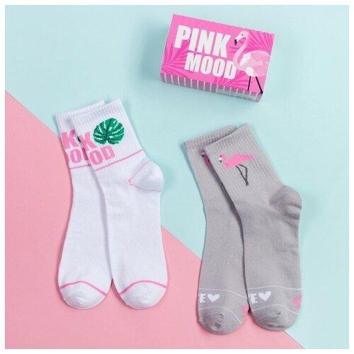 Носки Kaftan Pink mood 4001340, 2 пары, размер 23-25 см (37-39), белый/серый