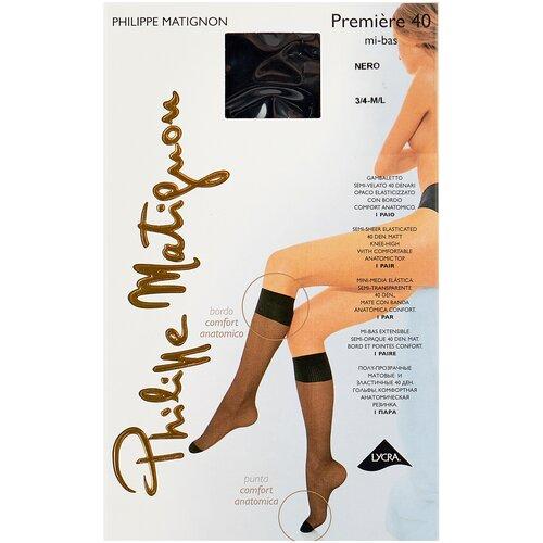 Капроновые гольфы Philippe Matignon Premiere 40 den mi-bas, размер 3/4 (M/L), nero