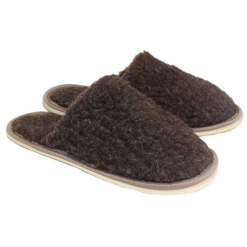 Тапочки меховые ИвШуз, темно-коричневые, размер 40-41