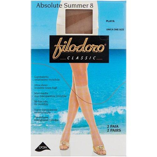 Капроновые гольфы Filodoro Classic Absolute Summer 8 Den, 2 пары, размер one size, playa