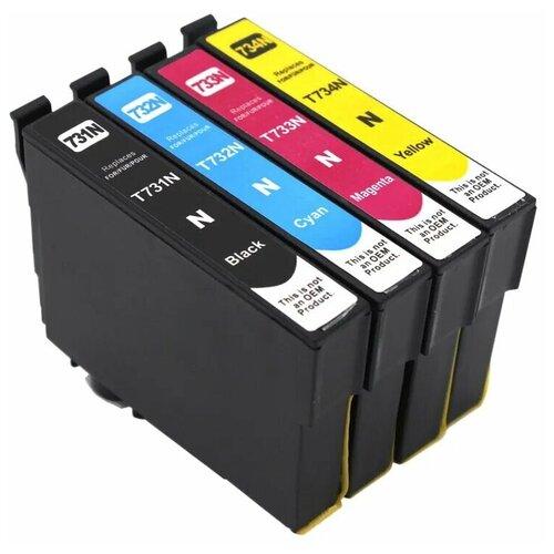 Фото - Комплект картриджей T073/Т0735 (T0731 T0732 T0733 T0734) для Epson Stylus-C79, TX100, C110, TX200, TX209, TX210, TX219, TX400, TX409, TX410, TX419, TX550, CX3900, CX4900, CX5900, CX7300, CX8300, CX9300, Stylus Office-T30, T40, TX300, TX600, 4 цвета, совместимый набор картриджей для epson c13t10554a10 multi pack для epson stylus c79 cx3900 4900 5900 4 цвета black cyan magenta yellow