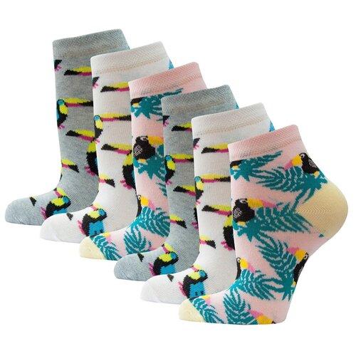 Носки HOSIERY 72814 туканы, 6 пар, размер 23-25, белые/розовые/серые