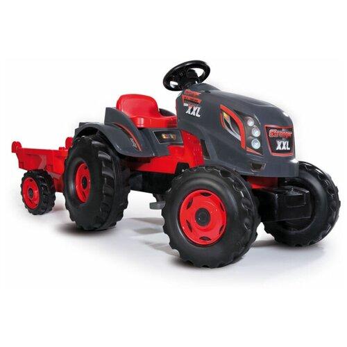 Веломобиль Smoby Трактор педальный XXL с прицепом, серый/красный