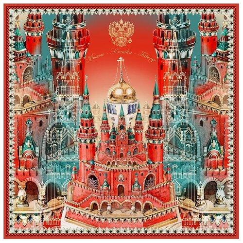 Платок Русские в моде by Nina Ruchkina Кремль - Москва - Фаберже красный