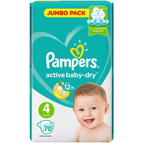 Купить Pampers подгузники Active Baby-Dry 4 (9-14 кг), 70 шт., Подгузники